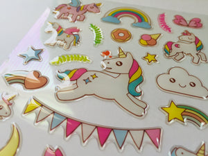 Unicorn Party Epoxy Stickers