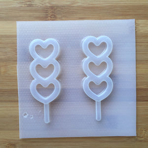 Triple Heart Lollipop Shaker Plastic Mold