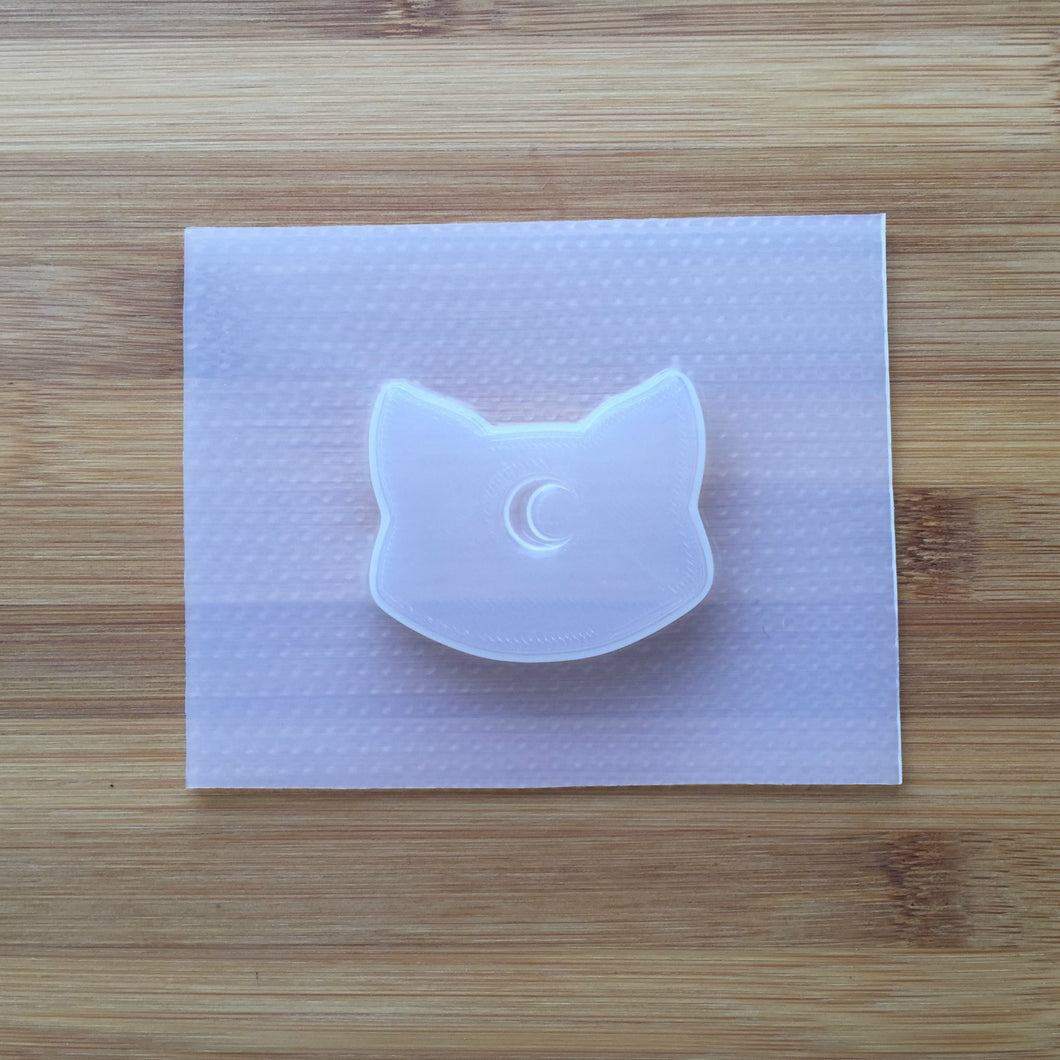 Cat Head with Moon Indent Plastic Mold