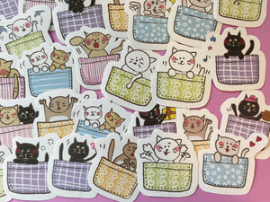 Cat in a Basket Sticker Flakes Box - 45 pieces