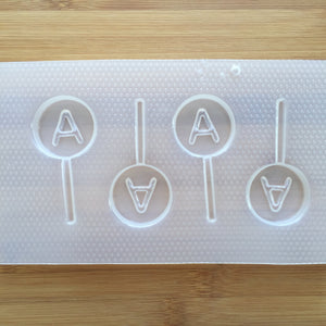 Letter A Lollipop Plastic Mold - Upper case - Circle