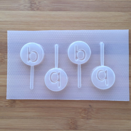 Letter b Lollipop Plastic Mold - Lower case - Circle