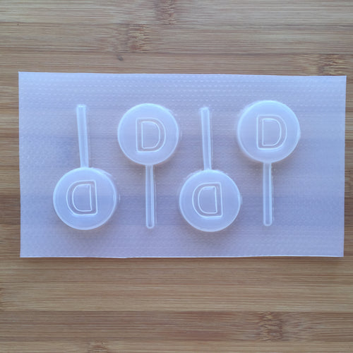 Letter D Lollipop Plastic Mold - Upper case - Circle