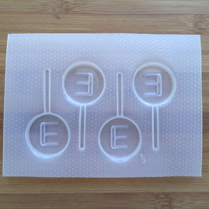 Letter E Lollipop Plastic Mold - Upper case - Circle