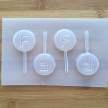 Load image into Gallery viewer, Letter F Lollipop Plastic Mold - Upper case - Circle