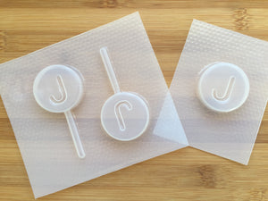 Letter J Badge Plastic Mold - upper case - Badge only / with lollipop stick