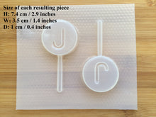 Load image into Gallery viewer, Letter J Badge Plastic Mold - upper case - Badge only / with lollipop stick