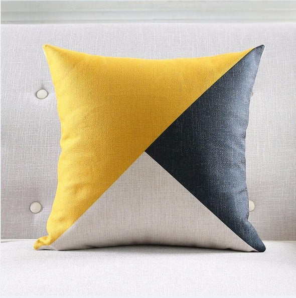 Geometric Cushion Cover-CloudyComfort-Tricolor-CloudyComfort