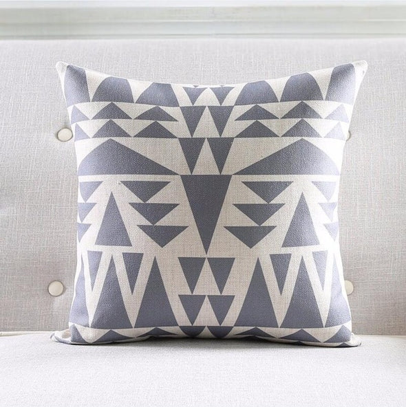 Geometric Cushion Cover-CloudyComfort-Grey-CloudyComfort