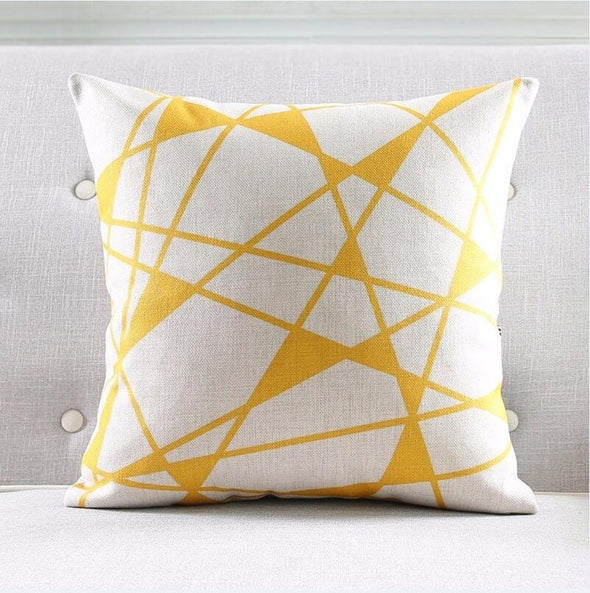 Geometric Cushion Cover-CloudyComfort-Yellow-CloudyComfort