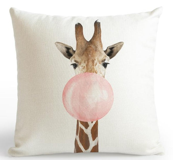 Zoo Pink Cushion Cover-CloudyComfort-Giraffe-CloudyComfort