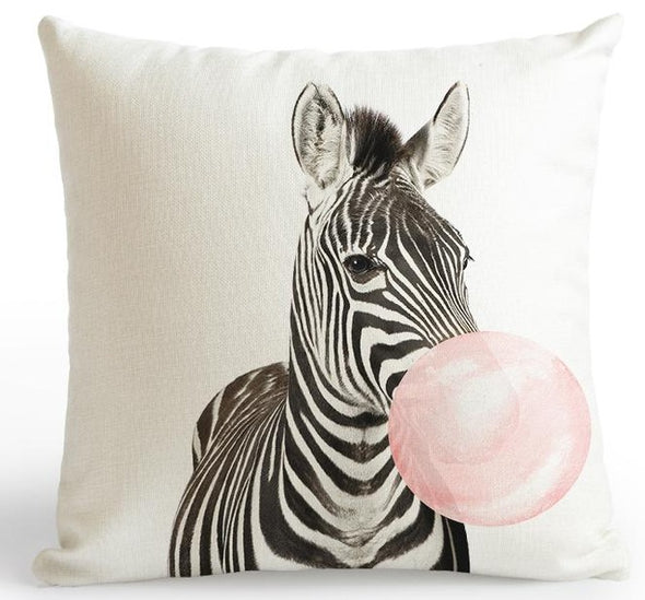 Zoo Pink Cushion Cover-CloudyComfort-Zebra-CloudyComfort