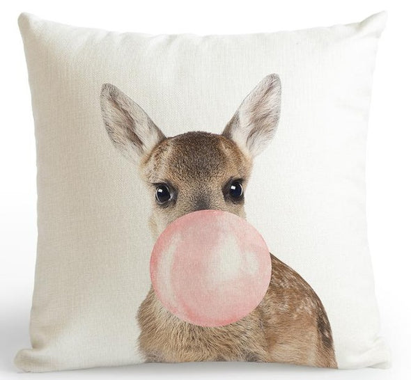 Zoo Pink Cushion Cover-CloudyComfort-Deer-CloudyComfort
