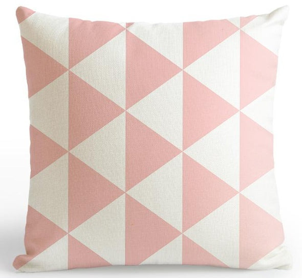 Zoo Pink Cushion Cover-CloudyComfort-Pink Geometric-CloudyComfort