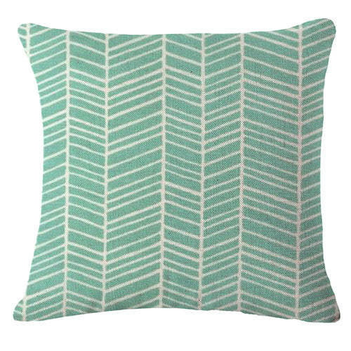 Nordic Green Cushion Cover-CloudyComfort-Turquoise-CloudyComfort