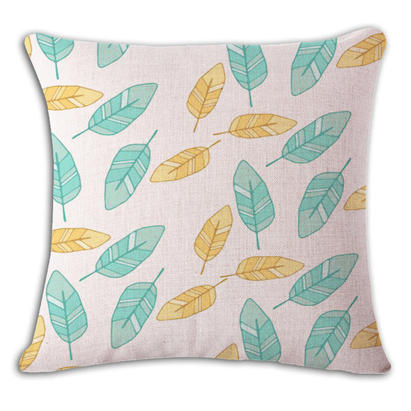 Nordic Green Cushion Cover-CloudyComfort-Blue Yellow-CloudyComfort