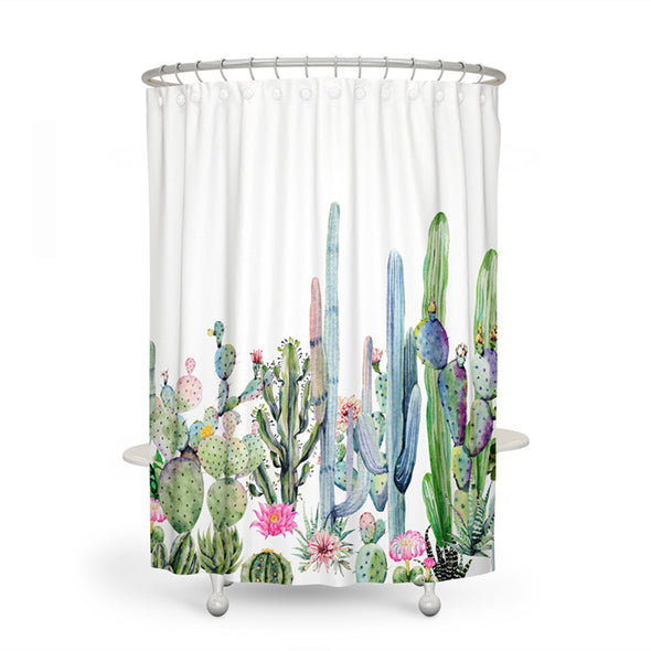 Tropical Cactus Shower Curtain-CloudyComfort-Long Cactus-CloudyComfort