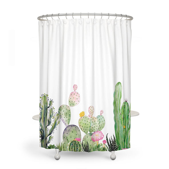 Tropical Cactus Shower Curtain-CloudyComfort-Pastel-CloudyComfort