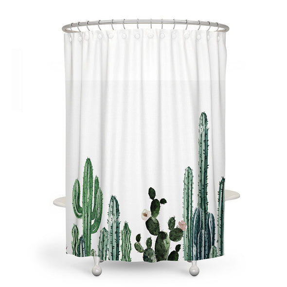 Tropical Cactus Shower Curtain-CloudyComfort-Small Cactus-CloudyComfort