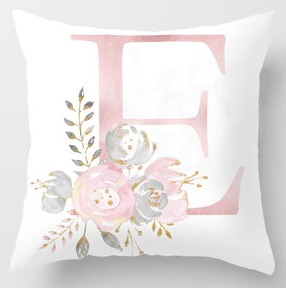 Alphabet Letter Cushion Cover-CloudyComfort-E-CloudyComfort