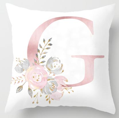 Alphabet Letter Cushion Cover-CloudyComfort-G-CloudyComfort