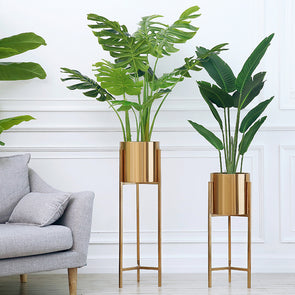 Lobby Gold Metal Floor Vase-CloudyComfort-Tan Brass-CloudyComfort