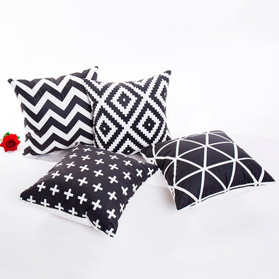 Black & white Polyester Throw Pillow Case-CloudyComfort-CloudyComfort