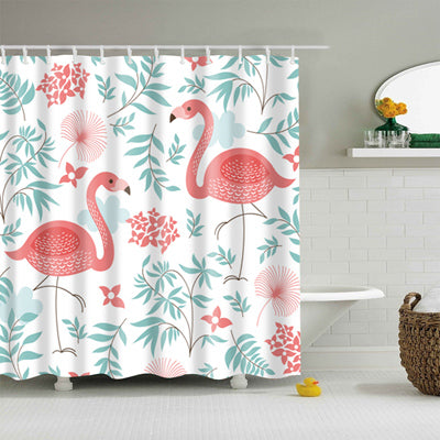 Flamingo Shower Curtain-CloudyComfort-Forest-CloudyComfort