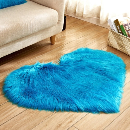 Soft Love Heart Wool Carpet Rug-CloudyComfort-Blue-70x90cm-CloudyComfort