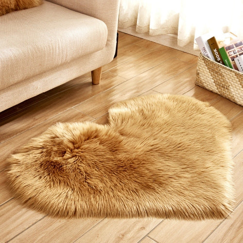 Soft Love Heart Wool Carpet Rug-CloudyComfort-Khaki-70x90cm-CloudyComfort