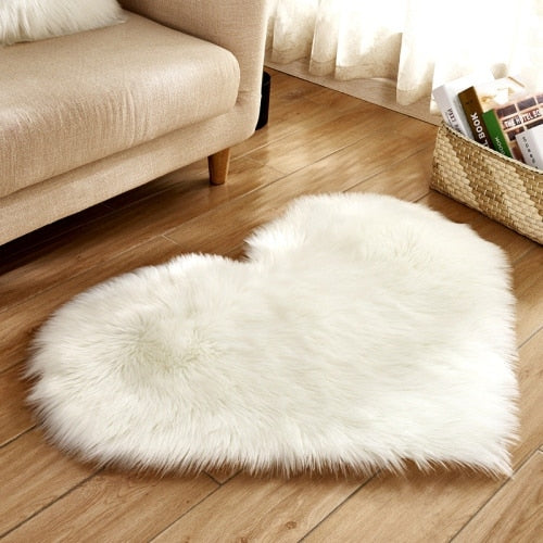 Soft Love Heart Wool Carpet Rug-CloudyComfort-White-70x90cm-CloudyComfort
