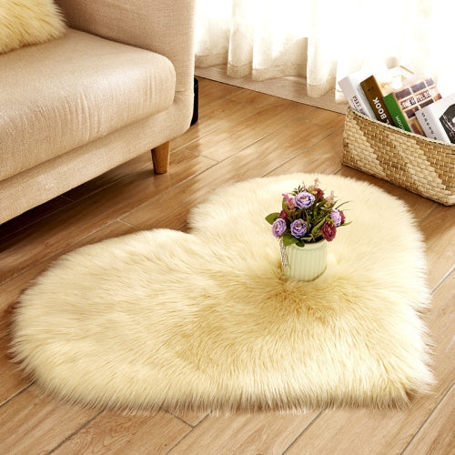 Soft Love Heart Wool Carpet Rug-CloudyComfort-Beige-70x90cm-CloudyComfort