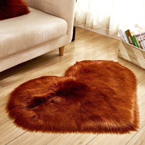 Soft Love Heart Wool Carpet Rug-CloudyComfort-Coffee-70x90cm-CloudyComfort