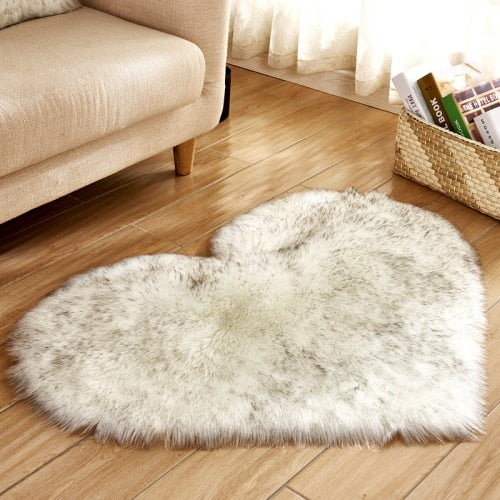 Soft Love Heart Wool Carpet Rug-CloudyComfort-White with Grey-70x90cm-CloudyComfort