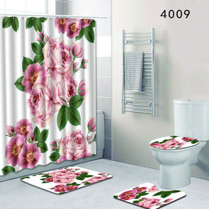 The 4 sets rug Shower curtain-CloudyComfort-CloudyComfort