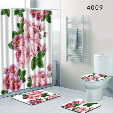 The 4 sets rug Shower curtain-CloudyComfort-4009-50x80cm-CloudyComfort