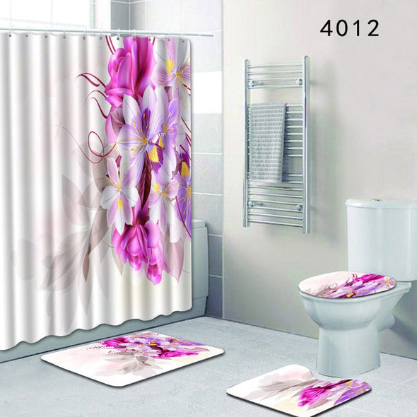 The 4 sets rug Shower curtain-CloudyComfort-4012-50x80cm-CloudyComfort