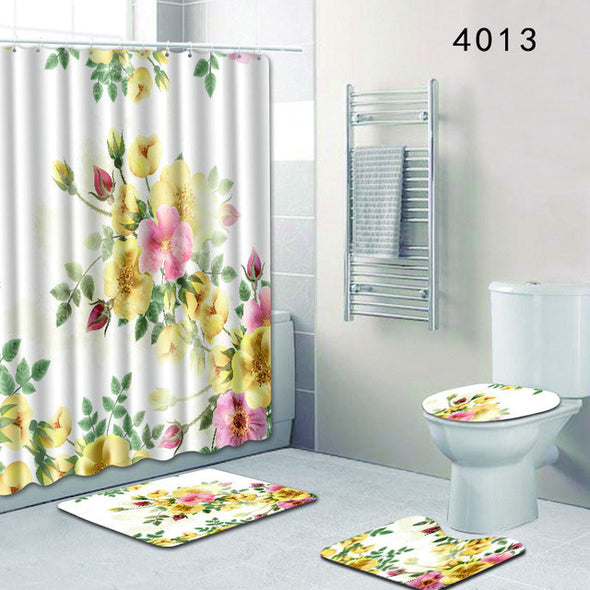 The 4 sets rug Shower curtain-CloudyComfort-4013-50x80cm-CloudyComfort
