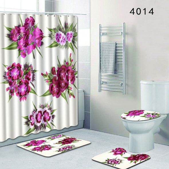 The 4 sets rug Shower curtain-CloudyComfort-4014-50x80cm-CloudyComfort