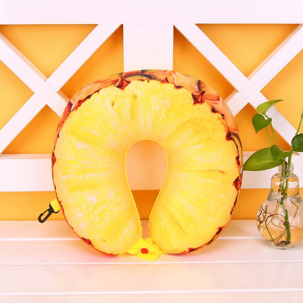Travel Size Fruity Neck Pillow-CloudyComfort-Pineapple-CloudyComfort