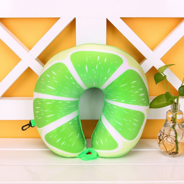 Travel Size Fruity Neck Pillow-CloudyComfort-Lime-CloudyComfort
