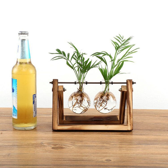 Wooden Glass Hydroponic Flower Vase-CloudyComfort-2 Holder-CloudyComfort