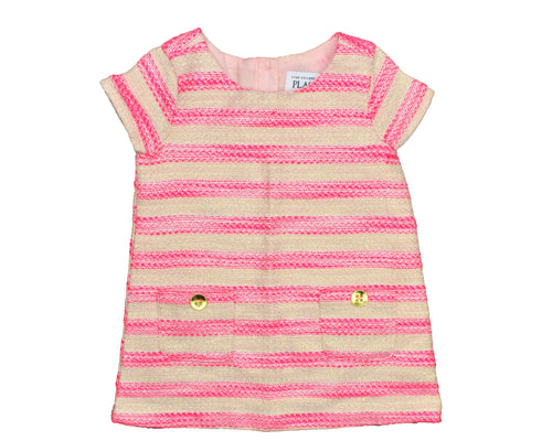 The Children's Place Pink & Nude Striped Dress - Size: 12-18M