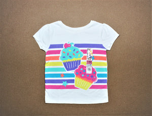 Garanimals White Print Striped T-Shirt - Size: 3T