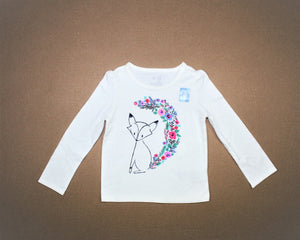 Baby Gap White Print Long Sleeve Top - Size: 18-24M