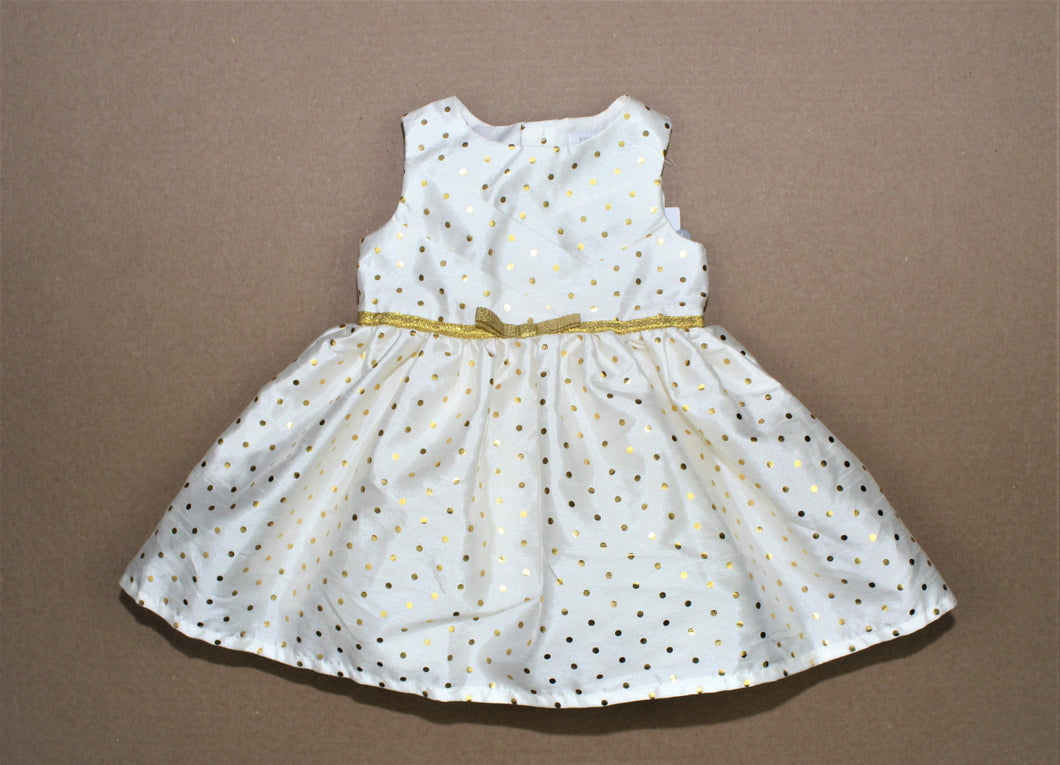 Carter's Ivory Gold Polka-Dots Sleeveless Dress - Size: 6M