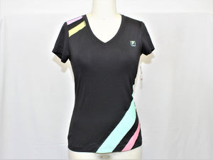 Fila Sport Black V-Neck Active Top - Size: XS
