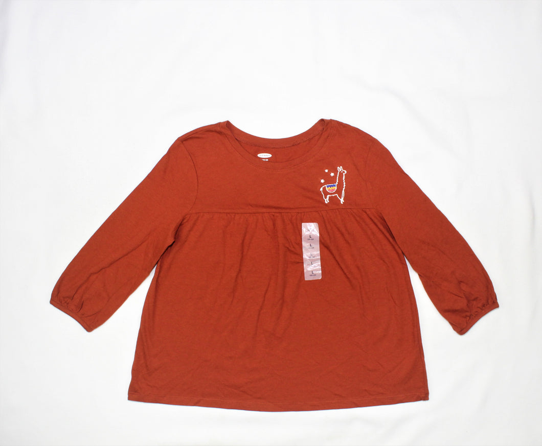 Old Navy Brown Embroidered Top - Size: L (10-12)
