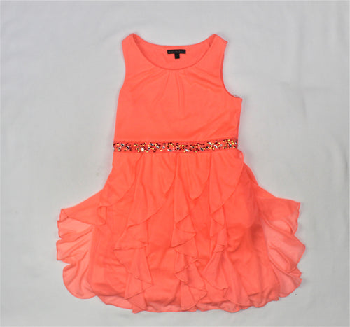 My Michelle Girls Coral Beaded Dress - Size: 14Y