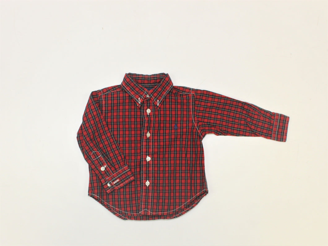 Ralph Lauren Red Plaid Shirt - Size: 12M